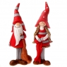Dänisches Weihnachts-Wichtelpaar Santa stehend mit Sack und Frau, H 15 cm, Farbe: rot