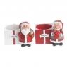 2 dänisches Kerzenhalter für große Kerzen (D 6 cm) Weihnachtsmann u. Frau, H 6cm, B 7cm, rot, weiß