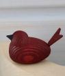 1 Holzstecker kleiner Vogel dunkelrot