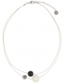 Aarikka MINITELLUS finnische Halskette weiß/schwarz/silber,  l 47 cm