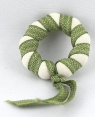 1 small Swedish napkin ring / candle ring, ø 3,5 cm, white/green