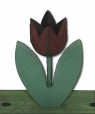 1 Holzstecker gr. Tulpe 2-blättrig, dunkelbraun