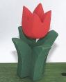 1 Holzstecker gr. Tulpe 4-blättrig, rostrot