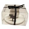 Schwedischer einfacher Kerzenhalter weiß Elch, in Geschenkbox