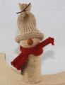 Autumn birch man with knitting cap light brown and scarf, h 11 cm