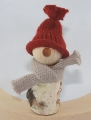 Autumn birch man with knitting cap light red brown and scarf, h 11 cm