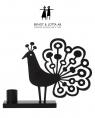Bengt & Lotta PEACOCK candle holder, black, 20,5 cm x 15,5 cm