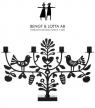 Bengt & Lotta big candle holder PINE CONE, black, h21 w47 cm