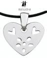 Bengt & Lotta Halskette FLOWER HEART, Sterling Silber mit schwarzem Lederband