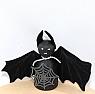 Halloween - Fledermaus mit Spinnennetz schwarz für Holzkränze