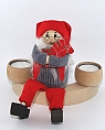 Großer, schwedischer Santa Weihnachtsmann sitzend mit Dalapferd rot