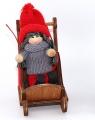 De la fille de Noel de Suède dans une luge, gris/rouge 10 cm