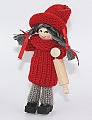 Swedish Santa woman with rolling pin, red, H 10 cm