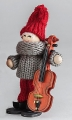 Swedish Santa with violin, grey/red, H 10 cm