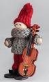Schwedischer Santa Weihnachtsjunge mit Violine stehend, grau/rot, H 10 cm, ohne Holzdübel
