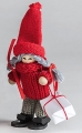 Swedish Santa woman with present, red, H 10 cm