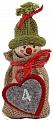 Advent calendar boy in a jute bag, knitting cap light green, h 13 cm