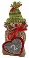 Advent calendar boy in a jute bag, knitting cap light green striped, h 13 cm