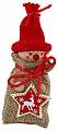 Advent calendar boy in a jute bag, knitting cap red, h 13 cm