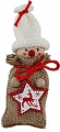 Advent calendar boy in a jute bag, knitting cap white, h 13 cm