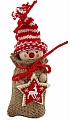 Advent calendar boy in a jute bag, knitting cap red/white striped, h 13 cm