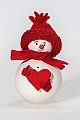 Snowman with red heart, h 9 cm
