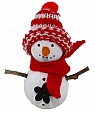 Small Snowman with red scarf and knitted cap, H 8 cm, for candlerings