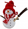 Big Snowman with broom, red scarf and knitted cap, H 11 cm, for candlerings