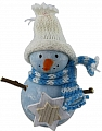 Big Snowman with star, scarf and knitted cap, light blue, H 11 cm, for candlerings