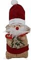 Advent calendar Santa Claus in a jute bag, felt cap red, h 13 cm