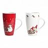 Det Gamle Apotek, 2 Danish mugs Celebrate Christmas, h 15,3 cm, red and white