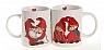 Det Gamle Apotek 2 dänische Tassen Nils Family in roter Geschenkverpackung, H 9,5 cm, weiß