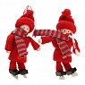 Det Gamle Apotek Danish Boy and girl with knitting clothes and skates, red/grey, H 16 cm