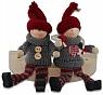 Det Gamle Apotek Danish Santa Boy and girl with hanging legs, grey/red H 12 cm