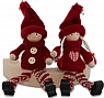 Det Gamle Apotek Danish Santa Boy and girl with hanging legs, dark red H 12 cm