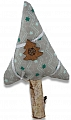 birch tree with a cotton fabric tree top light grey, h 14 cm