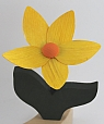 1 wooden flower with dark green leaves, for candlerings, h 12 cm