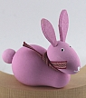 1 wooden Easter hare sitting with a loop, rose