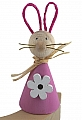 1 wooden Easter hare with wire ears, rose
