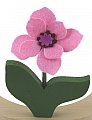 1 felt flower with wooden leaves, pink, for candlerings, h 11 cm (copy)
