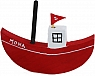 1 boat red with a flag for candlerings
