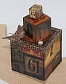 Vintage toy blocks, height 7,5 cm, brown