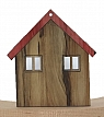 wooden house with 2 windows, height 6,5 cm, beige