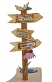 Vintage wooden signpost, height 8 cm, brown