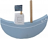 1 boat light blue with a flag for candlerings