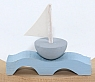1 boat light grey on the waves for candlerings,8x2x7 cm