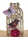 Vintage bird cage with butterfly, height 5 cm, for candlerings