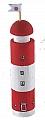 big wooden light house light red, h 14 cm
