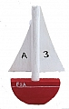 1 sailing boat red, for candlerings