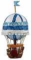 Vintage old hot-air balloon blue, height 10 cm